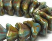 Low shipping - Czech pressed glass 5 petal flower beads - Opaque Turquoise Blue and Picasso Olive Rust Brown- 9x6mm