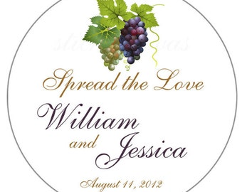 Personalized Grapes Spread the Love 2 Inch Round Glossy Wedding Stickers Favor Labels