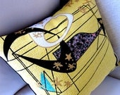 """Melina Made Premium Barkcloth - Atomic Retro Throw Pillow Cover - Yellow Celestial Space Age - 17"""" X 17"""" for an 18"""" insert"""