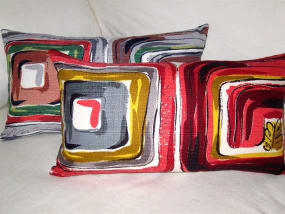 Mid Century Modern Retro LUMBAR Pillow Cover -- Vintage Barkcloth - Red Burgundy Gold Grey -- Choice of Sizes