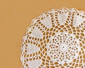 Elegant Ecru Crochet Lace Doily, Chic Home Decor, OOAK by Nutmeg Cottage