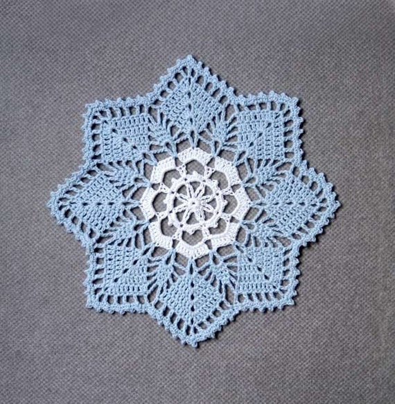 Sky Blue and White Crochet Doily, Cottage Chic Home Fashion Decor