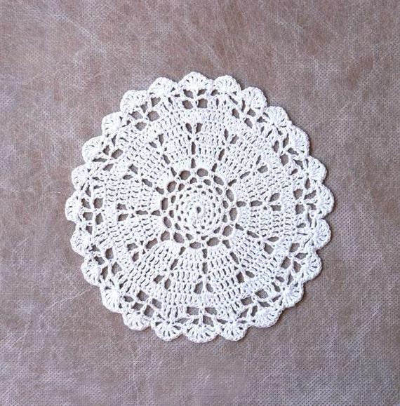 White Seashells Crochet Doily, Beach Theme Table Accent, Home Decor, Original Design and Handmade by NutmegCottage
