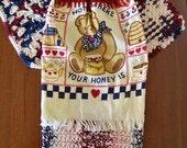 Americana Bear Crochet Hanging Towel Topper Dish Cloths and Potholder, 4 pc Crochet Kitchen Set, Teacher Gift
