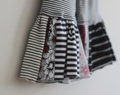 Giant Ruffle Pants 3T Black and White Stripe Wide Leg Pant with Oversize Scrap Ruffles Upcycle OOAK