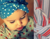 Toddler Red White and Blue Stripe Turban Hat Upcycle OOAK
