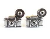Camera Cuff Links- Sterling Silver Ox Finish- Large Camera