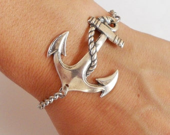 Steampunk Anchor Bracelet- Sterling Silver Ox Finish- Nautical Bracelet- Medium Anchor
