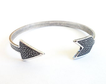 Steampunk Arrow Cuff Bracelet-  Sterling Silver Ox Finish
