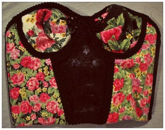 Floral/Black Lace Bustier/Bra-top