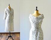 Vintage 1940s/50s lace dress and jacket set. Two piece set