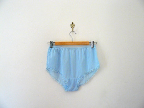 Vintage 70s nylon panties. deadstock panties. baby blue french knickers. lingerie