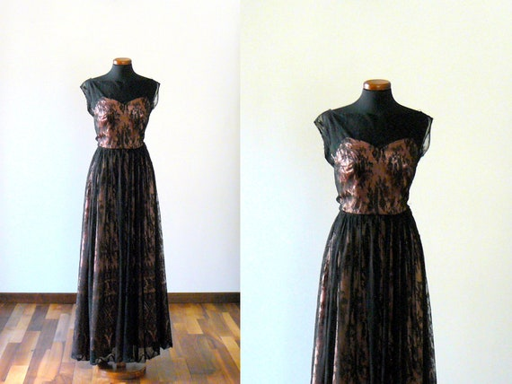 Vintage 1940/50s black lace maxi dress with rose satin lining. Evening long gown
