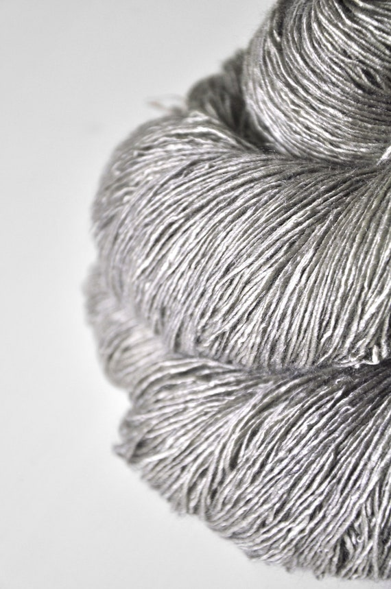 Liquid white gold OOAK - Tussah Silk Yarn Fingering weight