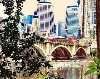 Reflections of Minneapolis, urban photo, bridge, Mississippi river wall art, home decor, large photo, office art, Minnesota