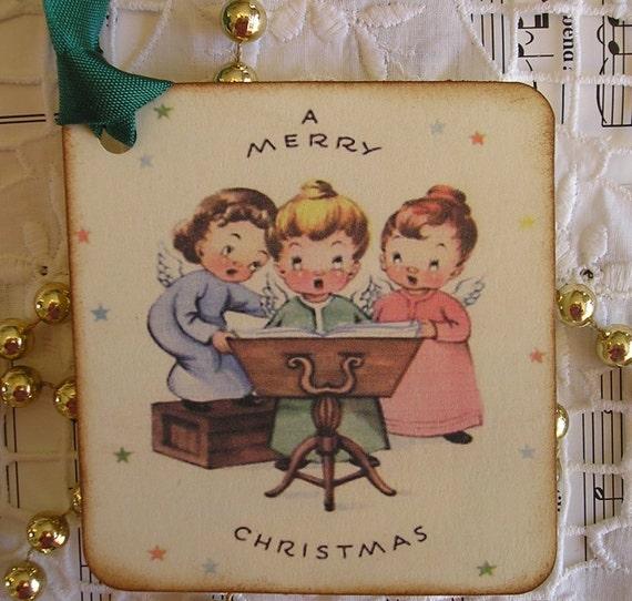 Three Caroling Angels - A Merry Christmas-  Christmas Gift Tags