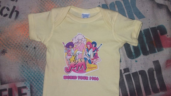 SALE funny 80s baby onesie Jem and the Holograms banana yellow rock n roll bodysuit
