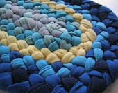 On Sale-Prize Winning Braided Blue Tabletop/Desktop Runner from recycled cotton