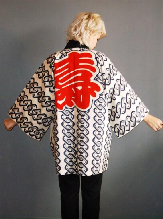 70s vintage kimono / red beige and navy / repeat block print / s sm m ml