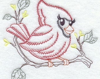 Embroidered Flour Sack Towel - Vintage Feathered Friend Embroidery Design