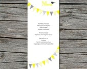 Wedding Menu, DIY, Flag Bunting, Birds, Printable, Digital File by ticklemeink on Etsy