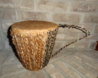 Vintage Ashiko African Percussion Hand Made Drum