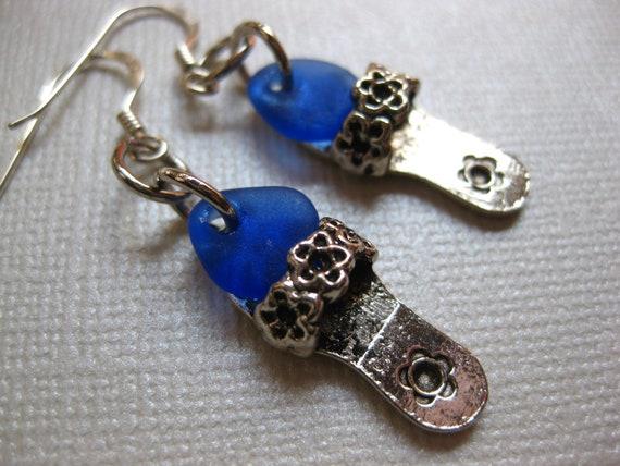 Cobalt Flip Flop Seaglass Earrings