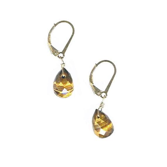 Tigereye briolette leverback earrings goldfilled or oxidized sterling