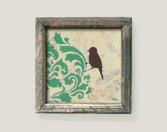 Bird Print, Cottage Chic Shabby, Wall Decor Damask Art, 12 x 12 inch print