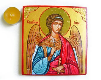 Guardian Angel Icon - handpainted icon orthodox style on wood panel, 6 x 5  2/3 inches