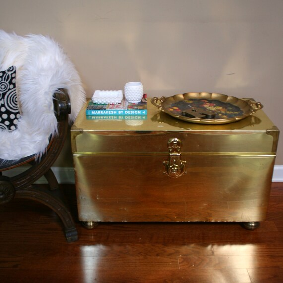 Vintage Coffee Table Brass Trunk Gold Chest End Table