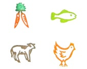 Set of 4 meal options rubber stamps wedding menu - Pick from various meats, vegetarian and kids options