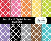 Quatrefoil - Designer Paper Pack - Digital Elements for Cards, Stationery, Backgrounds, Paper Crafts and Products