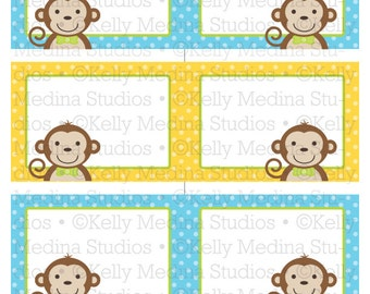 Monkey Boy - Printable Labels - Personal Use, Table, Gift Bag labels, Paper Crafts and Products