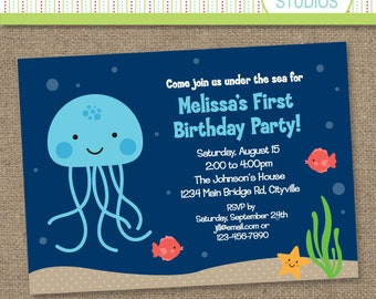 Under the Sea Birthday Jellyfish - Printable Digital Invitation - Personal Use Only