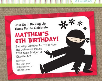 Custom Ninja Power Red Horizontal - Printable Digital Invitation - Personal Use Only