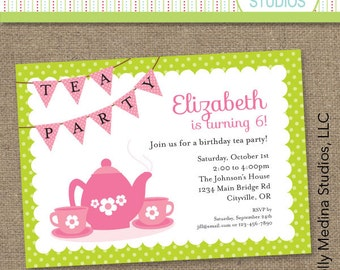 Custom Tea Party Birthday Invite Green and Pink - Personalized Printable Digital Invitation - Personal Use Only
