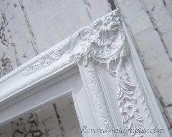"WEDDING PORTRAIT FRAME For Sale White Shabby Chic Picture Frames  20""x24"" MaNY SiZES- Photography Prop Vanity Mirror Frame Baroque Victorian"