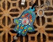 Fatima Hand HAMSA NECKLACE Gypsy protective jewelry Spiritual necklace Statement necklace hippie bohemian Native Tribal necklace unique