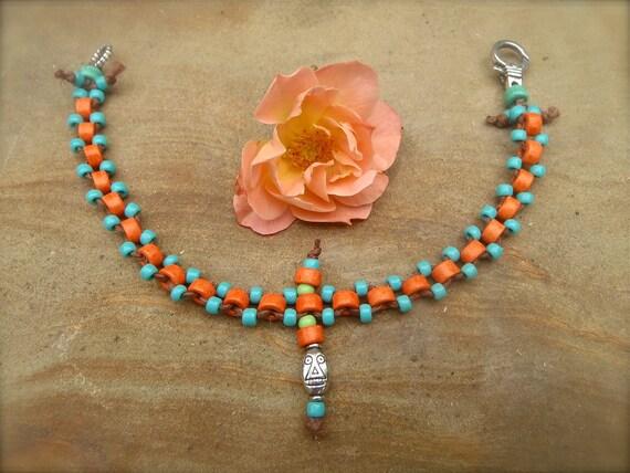 Reserved HIPPIE Orange ANKLET beaded ankle bracelet Western Native BOHO jewelry stackable anklets/bracelets barefoot sandals slave anklets
