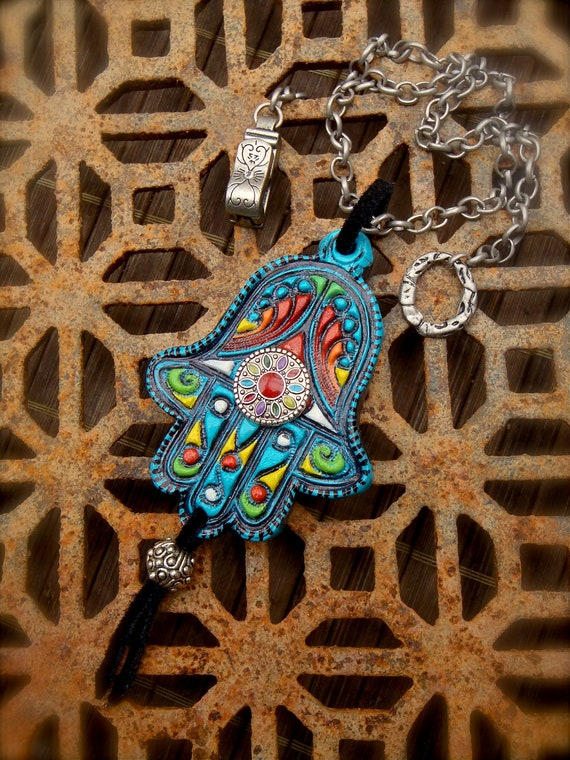 Fatima Hand HAMSA NECKLACE Gypsy protective jewelry Spiritual necklace Statement necklace hippie bohemian Native Tribal necklace unique