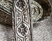 Antique trim Arts & Crafts superb quality metal and linen woven tape  OOAK Pre-Raphaelite 80""
