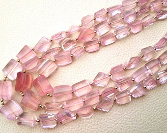 Brand New, Full 8 Inch Strand, 12-16mm size, AAA Quality Madagascar Rose Quartz Step Cut Faceted Nuggets,10-15mm size,Amazing Item