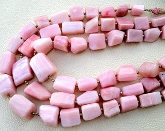 GIANT of Giant Brand New, Full 8 Inch Strand, 14-18mm size, aaa Quality Peruvian PINK OPAL Step Cut Faceted Nuggets,Amazing Item