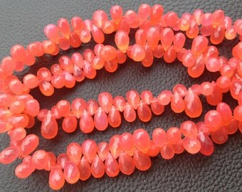 Brand New, Full 6 Inch Strand,Rare Rare Fanta Chalcedony Faceted DROPS Briolettes, 10-11mm Long size,GORGEOUS.