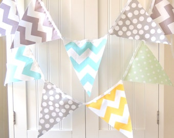 Bunting Flags Fabric Banner Pennant, Garland Mint Green Polka Dot, Aqua, Grey, Yellow Chevron, Boy Baby Shower, Birthday Garland, Photo Prop