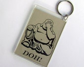 Facepalming Laughing Buddha keychain pale sage green