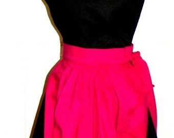 French Maid Apron -  Hot Pink and Black Retro Style