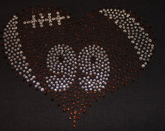 BLING Football Heart Shirt with Number, Football Mom Shirt, Football Shirt, Football Bling Shirt, Football Mom, Football Heart Shirt, Bling