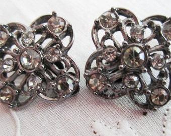 Vintage Black Metal Flower with Rhinestones Clip On Earrings